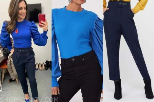 laura tobin, good morning britain, blue puff sleeve sweater