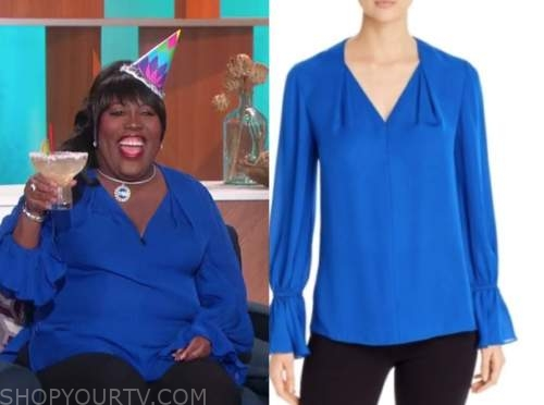 sheryl underwood, the talk, blue silk v-neck blouse, birthday