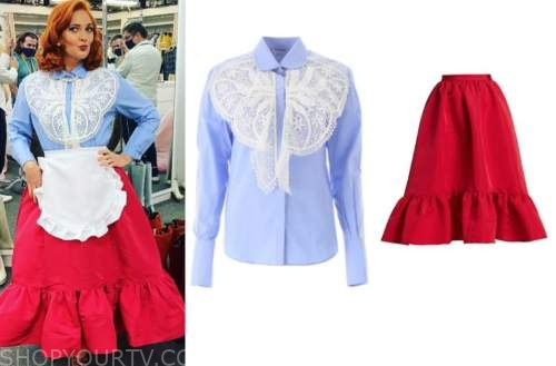 drew barrymore, drew barrymore show, blue lace shirt, red ruffle skirt
