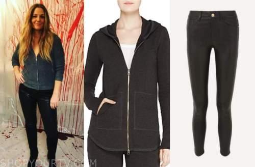 drew barrymore, drew barrymore show, hoodie, leather pants