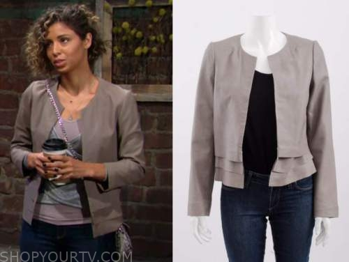 elena dawson, the young and the restless, grey leather tiered jacket, brytni sarpy