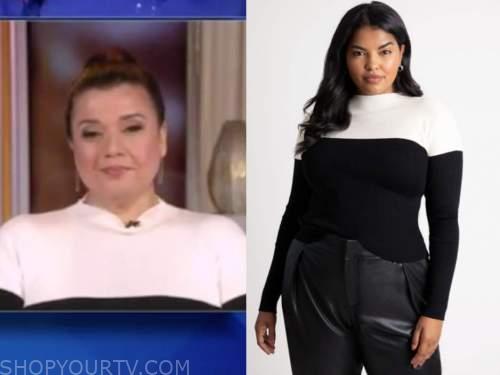 ana navarro, the talk, black and white colorblock sweater