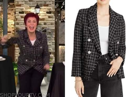 sharon osbourne, the talk, black tweed double breasted jacket