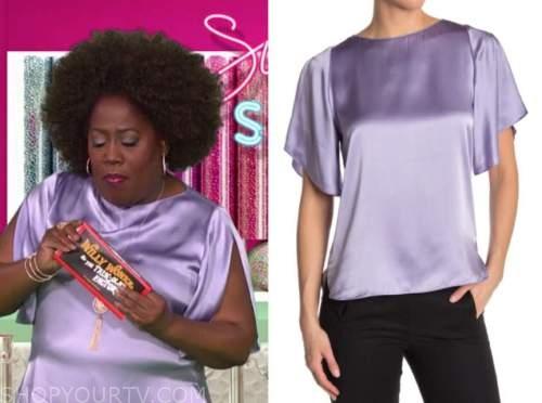 sheryl underwood, the talk, purple silk top