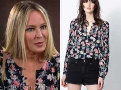 sharon newman, sharon case, the young and the restless, floral blouse