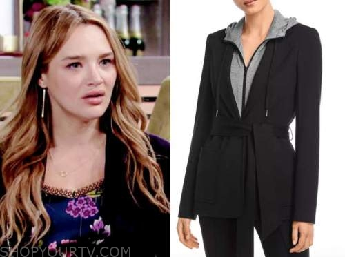 summer newman, hunter king, the young and the restless, black fleece blazer