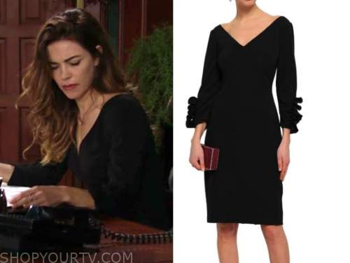 victoria newman, amelia heinle, black ruffle dress, the young and the restless