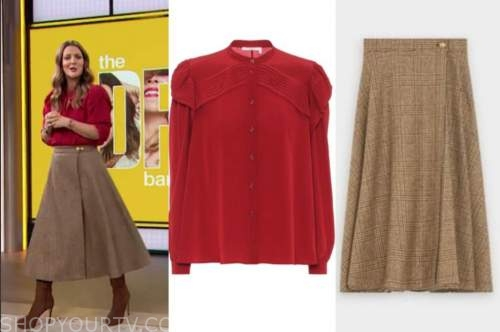 drew barrymore, drew barrymore show, red pleated blouse, plaid skirt