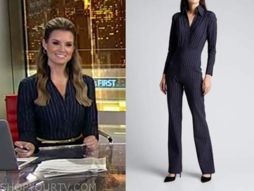 jillian mele, fox and friends, navy blue pinstripe jumpsuit