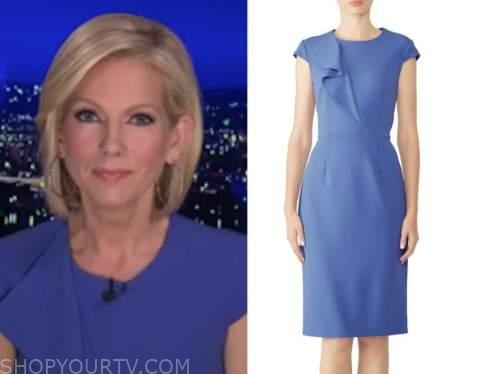 shannon bream, fox news at night, blue ruffle cap sleeve sheath dress