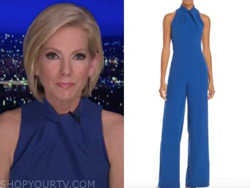 shannon bream, blue halter jumpsuit, fox news at night