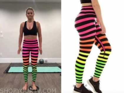 candace cameron bure, striped rainbow leggings