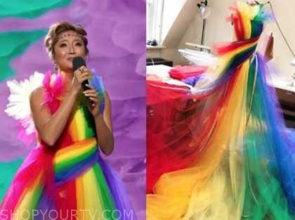 ashley park, rainbow tulle dress, drew barrymore show