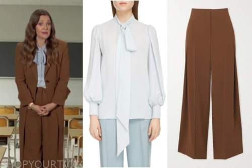 drew barrymore, drew barrymore show, blue tie neck blouse, brown pant suit