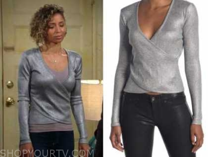 elena dawson, the young and the restless, brytni sarpy, silver metallic crossover top