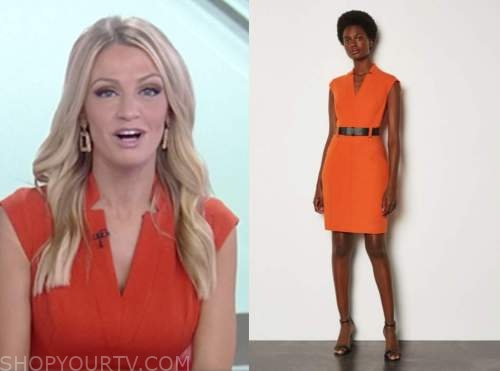 carley shimkus, fox and friends, orange belted sheath dress