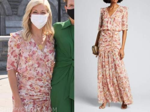ainsley earhardt, pink floral maxi dress, instagram, fox and friends
