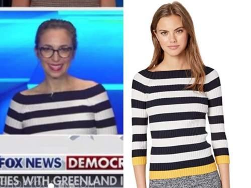 jedediah bila, navy blue and white striped knit top, fox and friends
