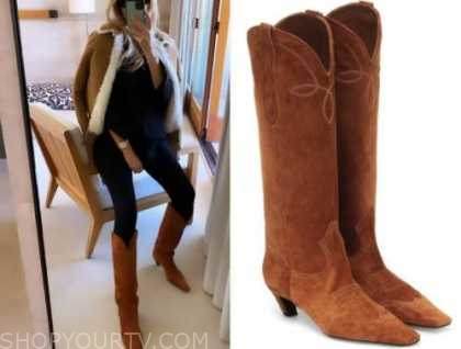 morgan stewart, E! news, daily pop, brown suede boots, instagram fashion