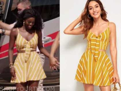 justine, love island usa, yellow striped crop top and skirt set