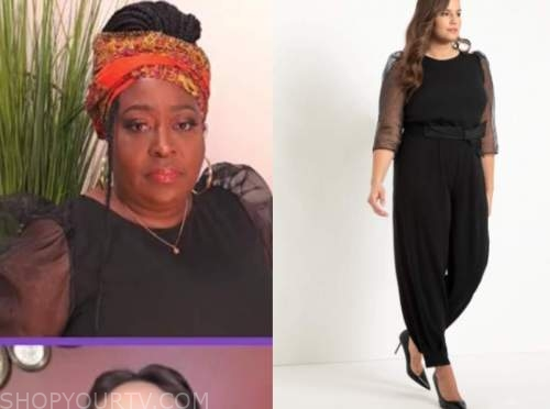 loni love, black organza puff sleeve jumpsuit, the real