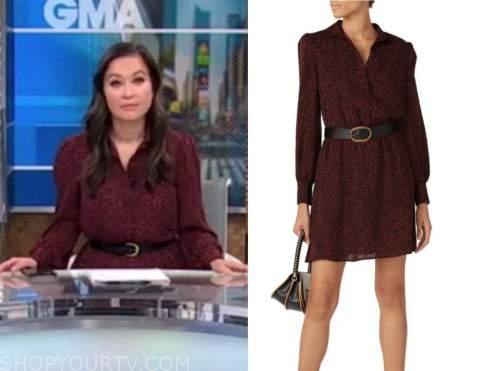 eva pilgrim, burgundy leopard shirt dress, good morning america