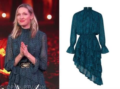 catherine mccord, teal snakeskin dress, E! news, daily pop
