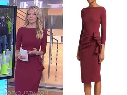 fox and friends, carley shimkus, burgundy boatneck side ruffle dress