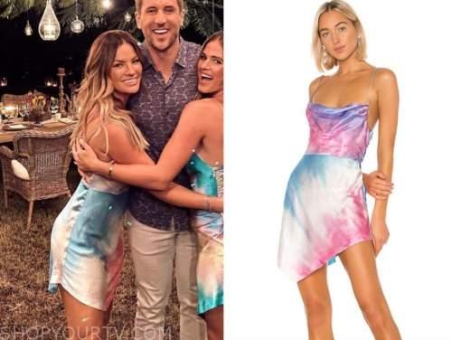 becca tilley, the bachelor, tie dye satin silk dress