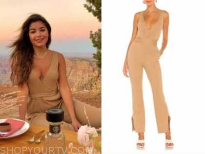 hannah ann sluss, the bachelor, beige ribbed knit jumpsuit