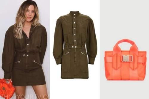 becca tilley, the bachelor, green dress, orange bag