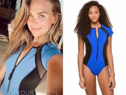 hannah brown, blue and black mesh swimsuit, the bachelorette