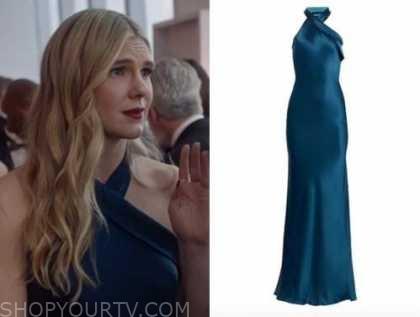 lily rabe, the undoing, blue satin halter gown, Sylvia Steineitz