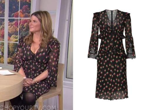 jenna bush hager, black and red floral dress, the today show