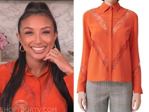 the real, orange lace shirt, jeannie mai