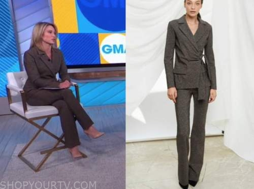 amy robach, brown jacket and pant suit, good morning america