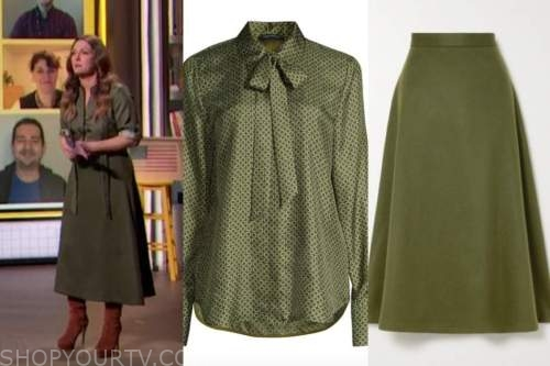 drew barrymore, drew barrymore show, green geometric blouse, green midi skirt