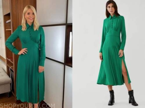 holly willoughby, this morning, green midi dress