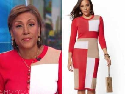 robin roberts, good morning america, red colorblock knit dress