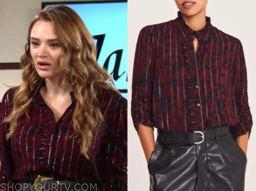 summer newman, hunter king, the young and the restless, red metallic stripe shirt