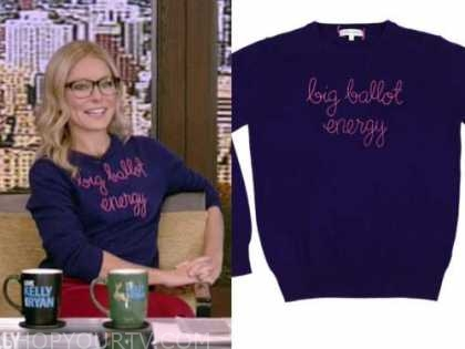 kelly ripa, blue big ballot energy sweater, live with kelly and ryan