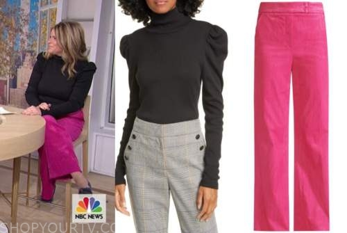 jenna bush hager, the today show, black turtleneck, pink pants