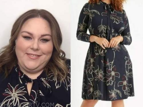 chrissy metz, live with kelly and ryan, navy blue floral dress