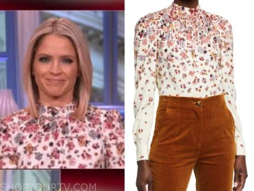 sara haines, the view, floral mock neck blouse