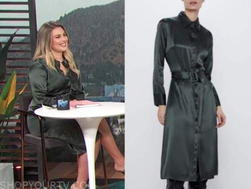 carissa culiner, E! news, green satin shirt dress
