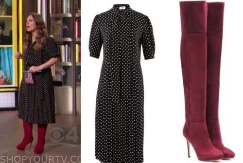 drew barrymore, drew barrymore show, black polka dot dress, red boots