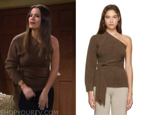 chelsea newman, melissa clarie egan, the young and the restless, brown one-shoulder sweater
