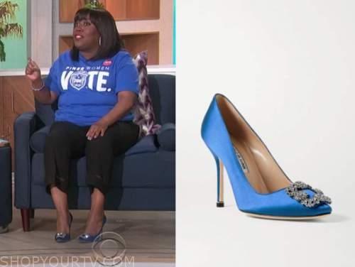sheryl underwood, the talk, blue satin embellished pumps