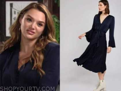 the young and the restless, summer newman, hunter king, navy blue midi dress