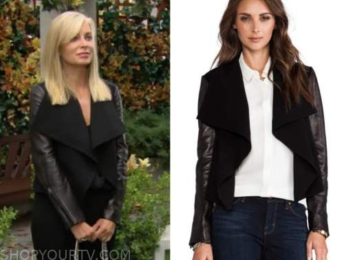 ashley abbott, eileen davidson, the young and the restless, black leather sleeve jacket